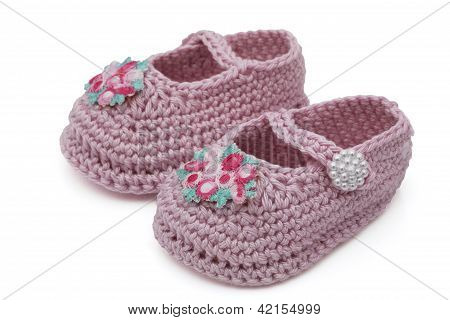 Pink Hand-made Baby Booties