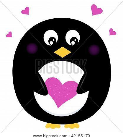 可爱的企鹅握着孤立的白底粉红心