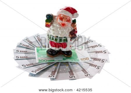 Santaclaus And Euro. Isolated On A White Background