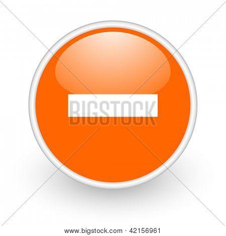 minus orange circle glossy web icon on white background