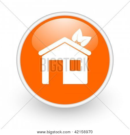 home orange circle glossy web icon on white background