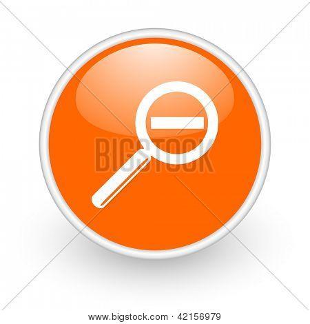 magnification orange circle glossy web icon on white background