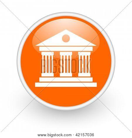museum orange circle glossy web icon on white background