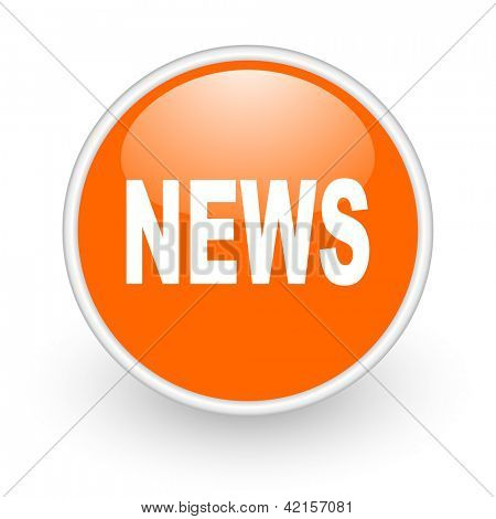 news orange circle glossy web icon on white background