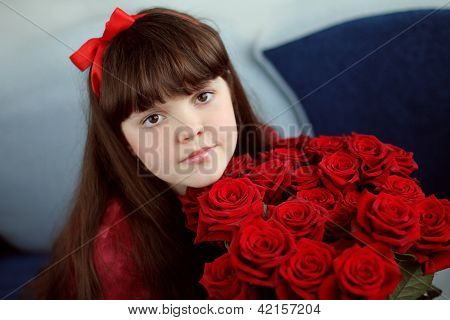 Portrait Of Attractive Teen Girl With Red Roses Bouquet Flowers