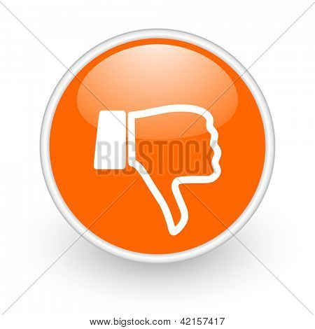 thumb down orange circle glossy web icon on white background