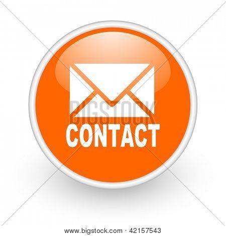 contact orange circle glossy web icon on white background