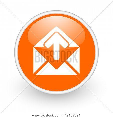 mail orange circle glossy web icon on white background