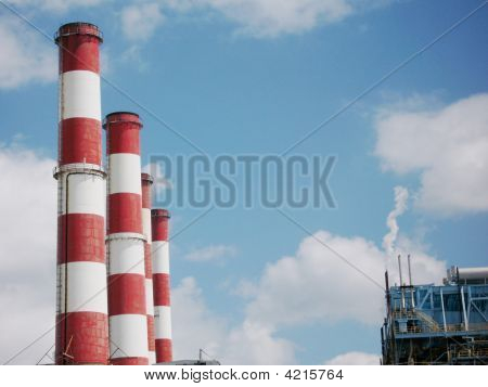 Red And White Smokw Stacks