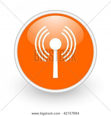 wifi orange circle glossy web icon on white background