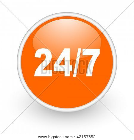 24/7 orange circle glossy web icon on white background