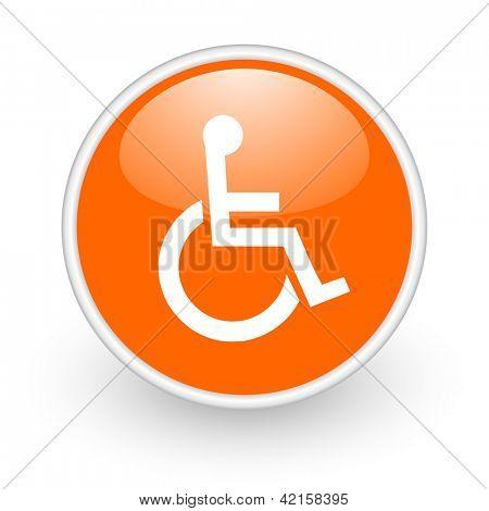 accessibility orange circle glossy web icon on white background