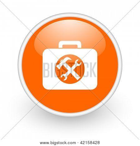 toolkit orange circle glossy web icon on white background