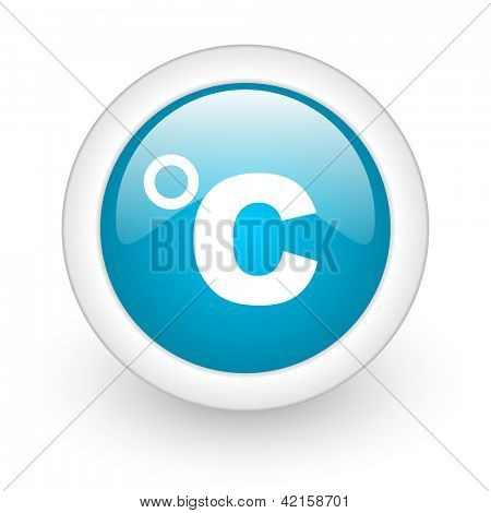 celsius blue circle glossy web icon on white background