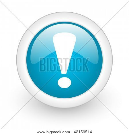 exclamation sign blue circle glossy web icon on white background