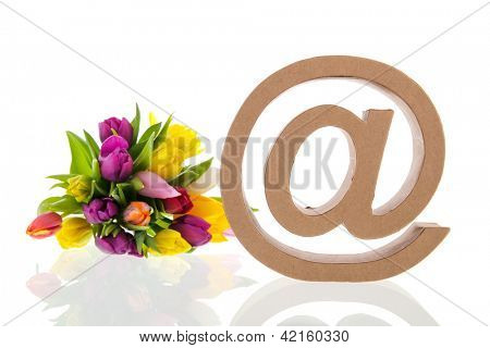 e-sign with bouquet flowers isolated over white background