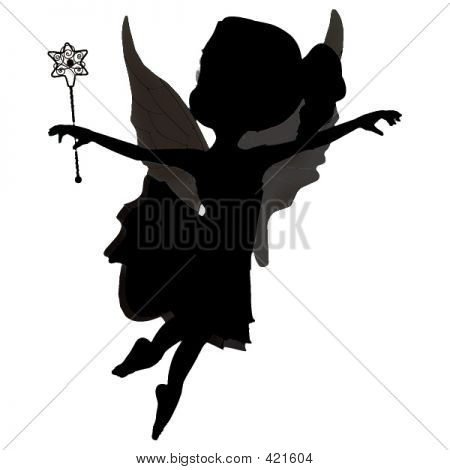 Cute Fairy Girl Sillhouette