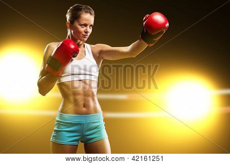 portrait of a woman boxer
