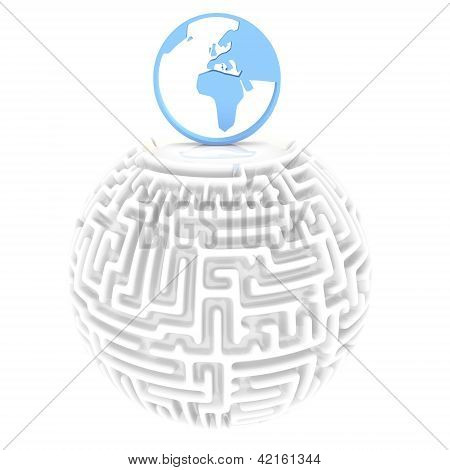 difficult maze world pictogram