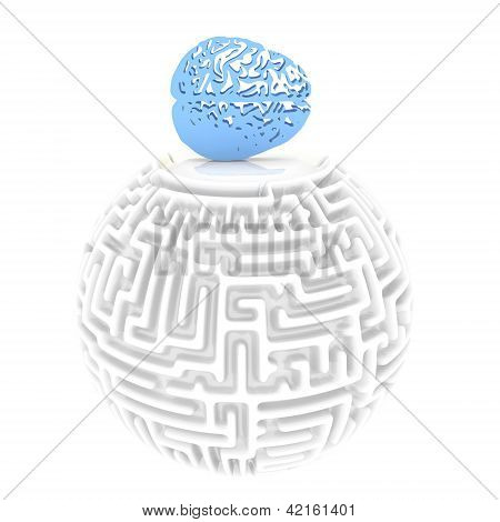 3d brain pictogram with labyrinth