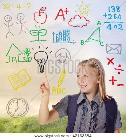 School Girl With Hand Written School Theme
