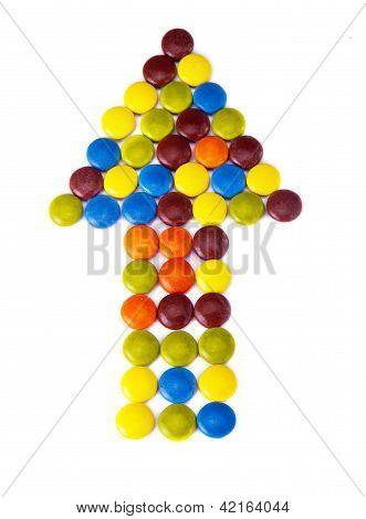 Flecha de caramelo colorido