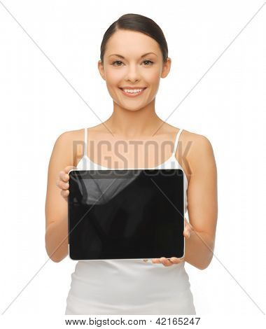 picture of beautiful woman with tablet pc