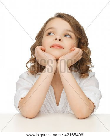 picture of thinking pre-teen girl in casual clothes
