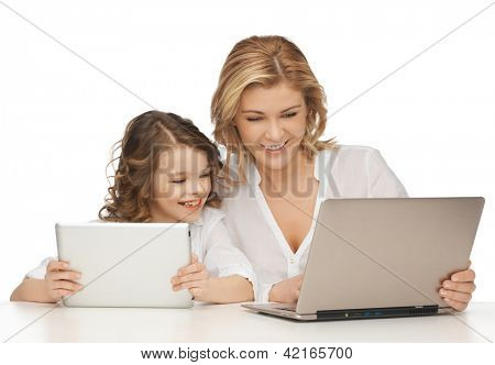 mother and daughter with laptop and tablet pc