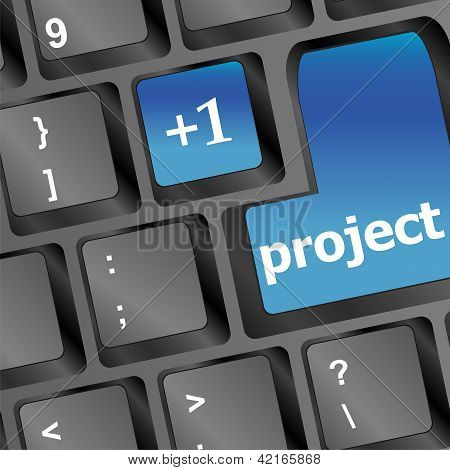 Project Button On Keyboard With Soft Focus