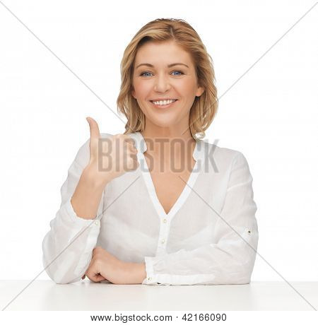 picture of woman in casual clothes showing thumbs up