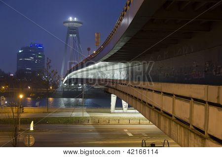 Bratislava bridge at dawn