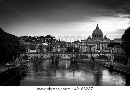 Panoramic view of St. Peter's Basilica and the Vatican City (with the river Tiber winding around it) - Rome, Italy (black&white)