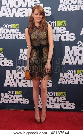 LOS ANGELES - JUN 05:  EMMA STONE arriving to MTV Movie Awards 2011  on June 05, 2011 in Hollywood, CA