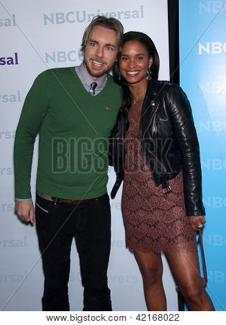 LOS ANGELES - JAN 06:  DAX SHEPARD & JOY BRYANT arriving to TCA Winter Press Tour 2012: NBC Party  on January 06, 2012 in Pasadena, CA