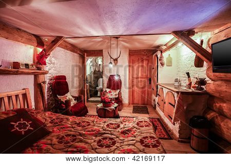 Interior Of Luxury Hotel Room In Vintage Style