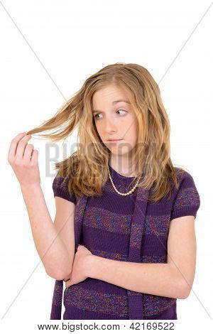 female child upset with hair