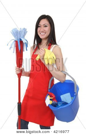 Pretty Maid Holding Cleaning Supplies