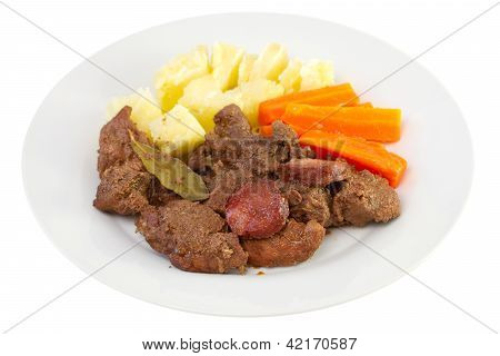 Fried Meat With Sausages, Potato And Carrot