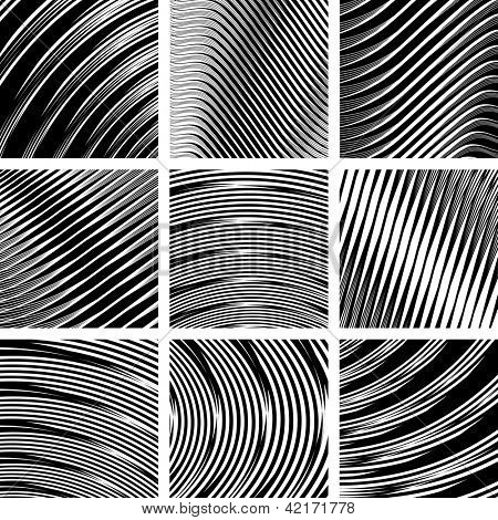 Abstract textured backgrounds set in op art design. No gradient. Vector art.