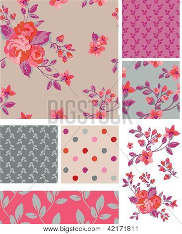 Delicate Pink Vector Rose Seamless Patterns and Elements. Use as fills, digital paper, or print off onto fabric to create unique items. Would look stunning printing onto silk.