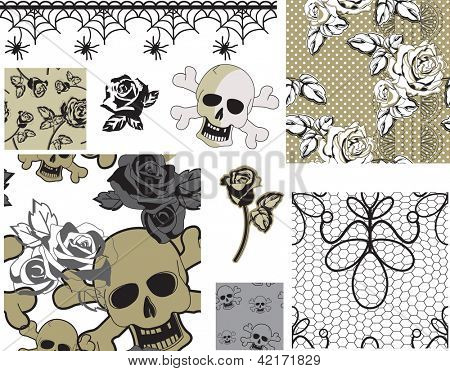 Floral Rose Skull Vector Seamless Patterns and Icons.  Use as pattern fills, digital paper, gift wrapping or print off onto fabric to create unique items.