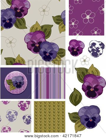 Mother's Day Pansy Flower Seamless Patterns and Icons. Use as fills, digital paper, or print off onto fabric to create unique items.