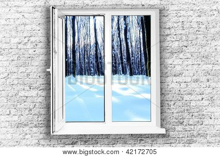 White plastic window isolated on white background