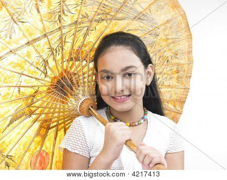 Girl Smiling And Holding A Traditional Oriental Umbrella