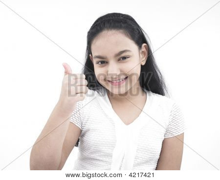Asian Teenage Girl Showing Thumbs Up