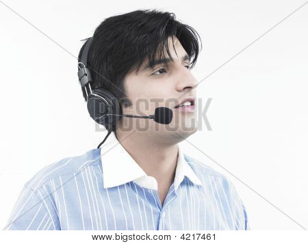 Asian Male Call Centre Executive Of Indian Origin