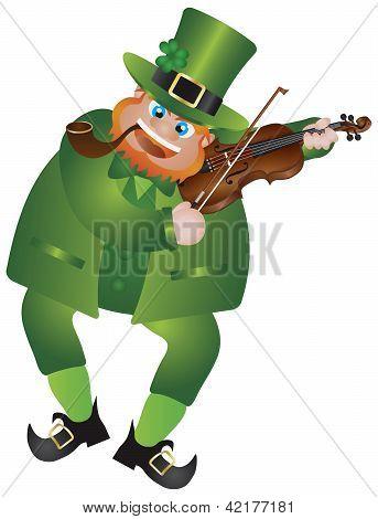 St Patricks Day Leprechaun Playing Violin