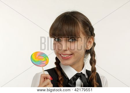 Smiling Woman With Lollipop