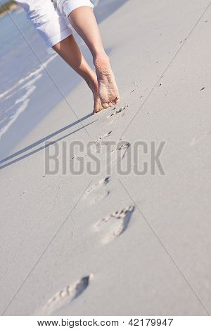 Barefoot In The Sand In Summer Holidays
